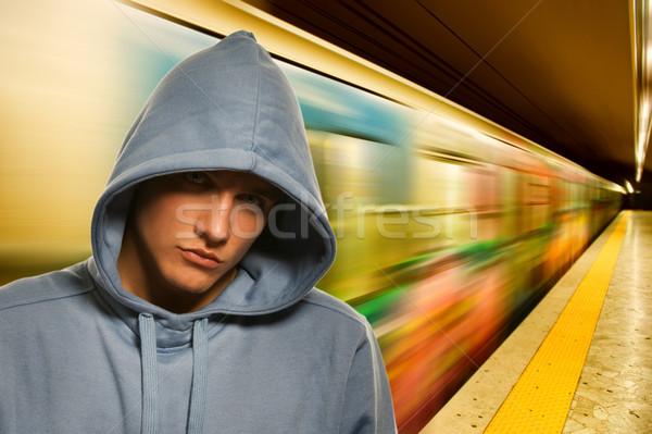 Fiatal bűnöző metró arc város divat Stock fotó © Nejron