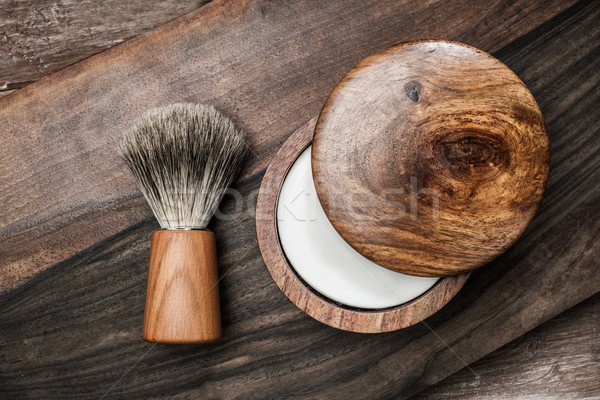 Shaving brush and soap on a luxury wooden background   Stock photo © Nejron