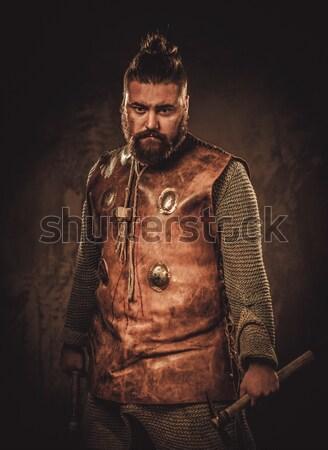 Medieval cavaleiro arma homem guerra azul Foto stock © Nejron