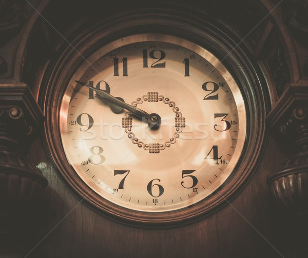 Stock photo: Vintage wooden clock