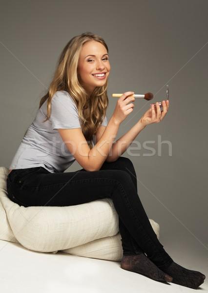 ポジティブ 若い女性 長髪 適用 笑顔 顔 ストックフォト © Nejron