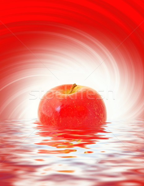 Red apple reflected in rendered water Stock photo © Nejron