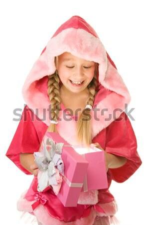 mrs. Santa with a gift box. Stock photo © Nejron