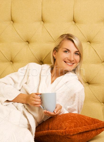 Fille potable café matin sourire visage Photo stock © Nejron