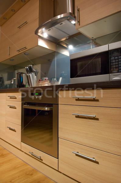Moderne keuken interieur home metaal keuken architectuur Stockfoto © Nejron