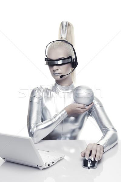Güzel kadın çalışma bilgisayar Internet dizayn Stok fotoğraf © Nejron