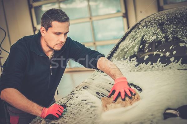 男 ワーカー 洗濯 高級 車 スポンジ ストックフォト © Nejron