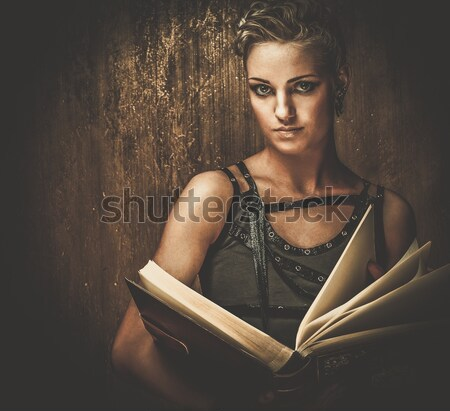 Steam punk girl with a book Stock photo © Nejron