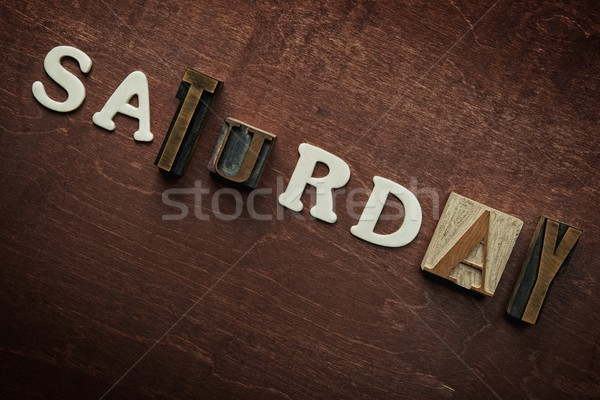 The word saturday written on wooden background Stock photo © Nejron
