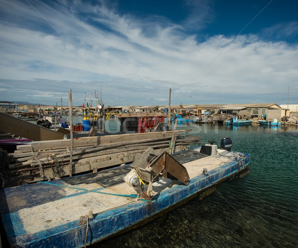 Oysters shacks in Port Leucate, France Stock photo © Nejron