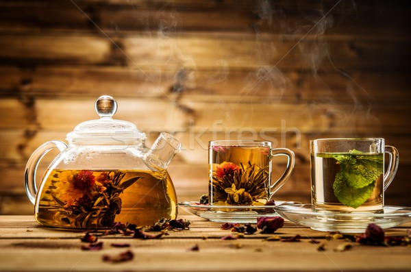 Theepot glas thee houten bloem Stockfoto © Nejron