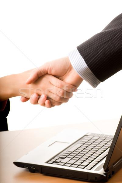 üzletember üzletasszony készít egyezmény nő kezek Stock fotó © Nejron