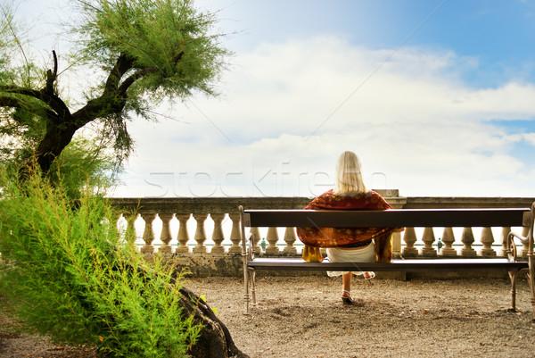 сидят скамейке парка девушки рук Сток-фото © Nejron