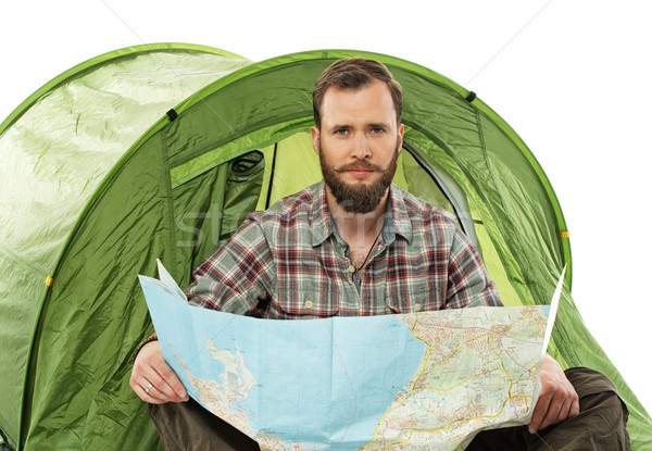 Yakışıklı gezgin çadır harita planlama rota Stok fotoğraf © Nejron