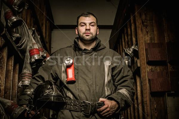 Feuerwehrmann Abstellraum Feuer Gebäude Zimmer arbeiten Stock foto © Nejron