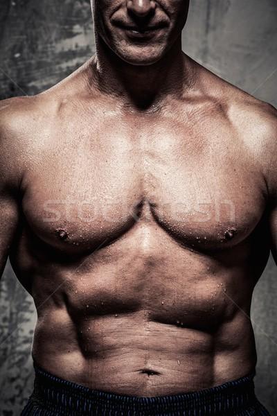 Stock fotó: Középkorú · férfi · izmos · test · sport · fitnessz · testmozgás