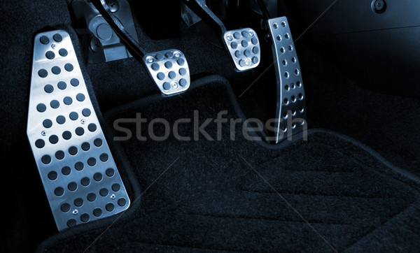 Stock photo: Sport car chrome pedals (toned in blue)