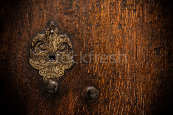 Buraco de fechadura velho porta madeira parede Foto stock © Nejron