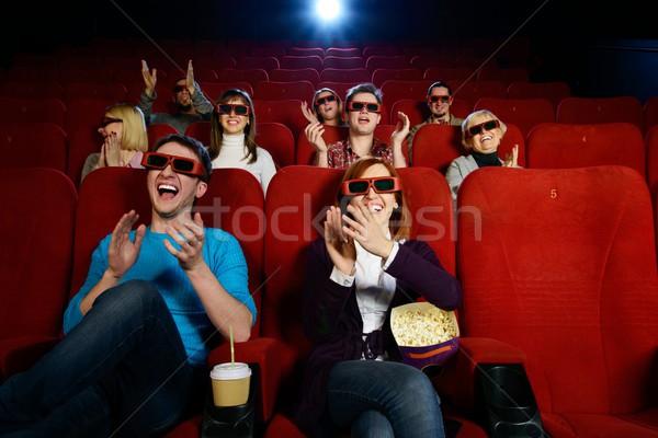 グループの人々  3dメガネ を見て 映画 映画 女性 ストックフォト © Nejron