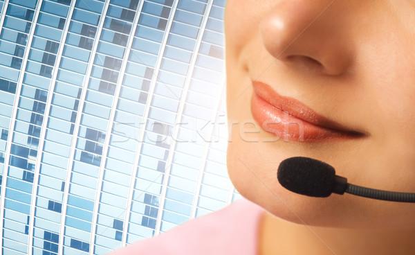 Beautiful hotline operator with headset Stock photo © Nejron