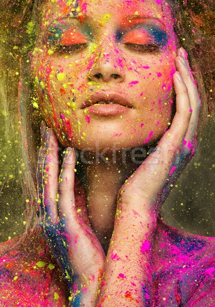 Stock photo: Young woman muse with creative body art and hairdo