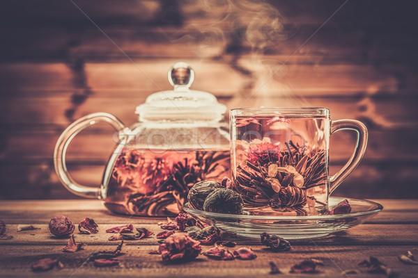 Czajniczek szkła kubek herbaty kwiat Zdjęcia stock © Nejron