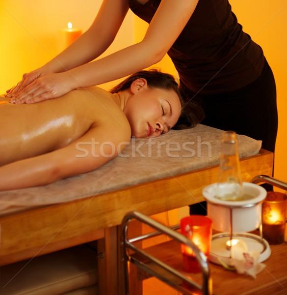 Piękna kobieta masażu strony ciało zdrowia tabeli Zdjęcia stock © Nejron