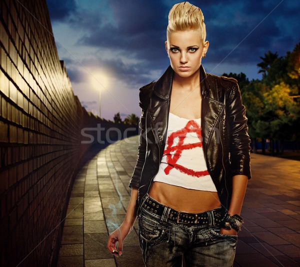 Punk girl with cigarette outdoor Stock photo © Nejron