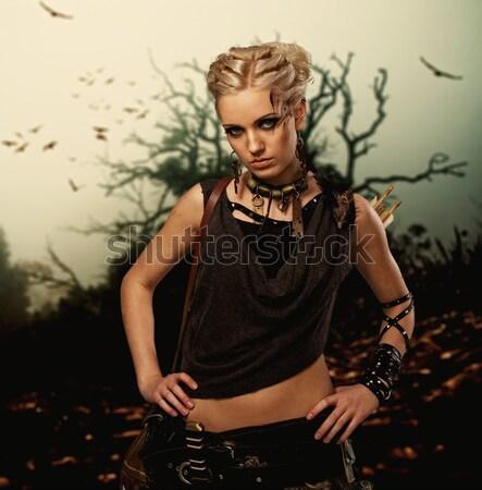 Retrato atractivo vapor punk nina auriculares Foto stock © Nejron
