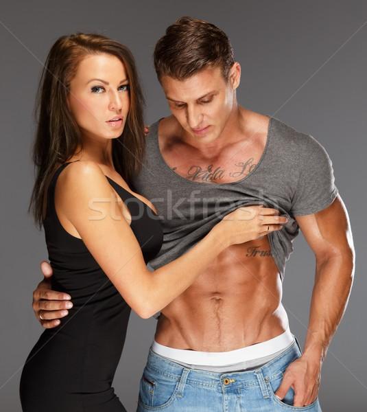 Genç kadın adam çıplak kas gövde Stok fotoğraf © Nejron