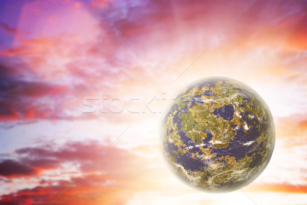 Eenzaam planeet hemel zon kaart abstract Stockfoto © Nejron