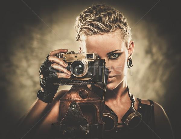 Steampunk lány retro kamera fal szépség Stock fotó © Nejron