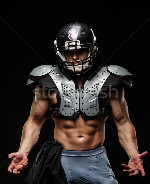 Amerikaanse voetballer helm pantser zwarte Stockfoto © Nejron