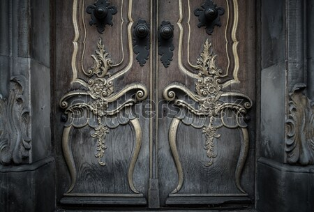 Old wooden door with beautiful decoration  Stock photo © Nejron