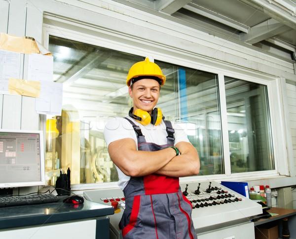 Feliz trabajador seguridad sombrero fábrica Foto stock © Nejron