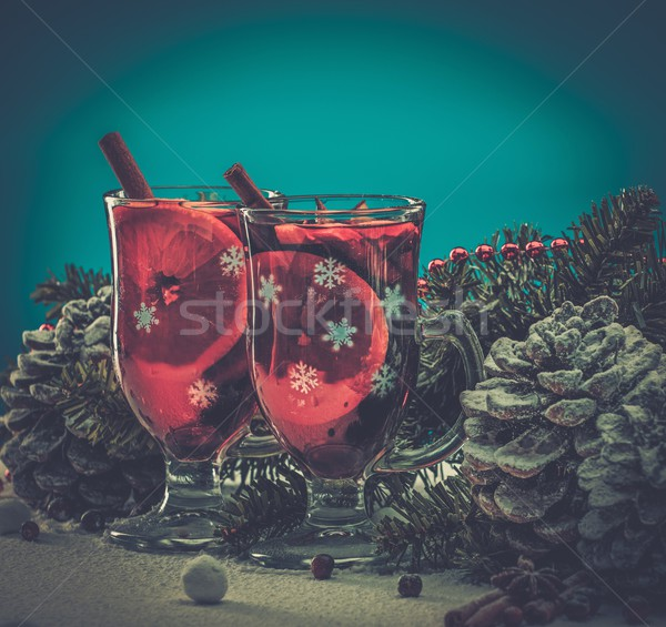 Cups with hot mulled wine in Christmas still life  Stock photo © Nejron