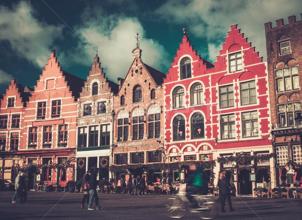 Pessoas mercado praça Bélgica edifício viajar Foto stock © Nejron