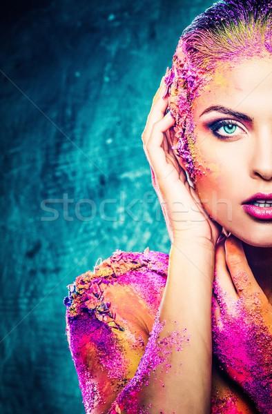 Piękna młoda kobieta kolorowy body art dziewczyna moda Zdjęcia stock © Nejron