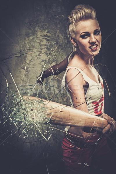 パンク 少女 ガラス 野球用バット 顔 戦争 ストックフォト © Nejron