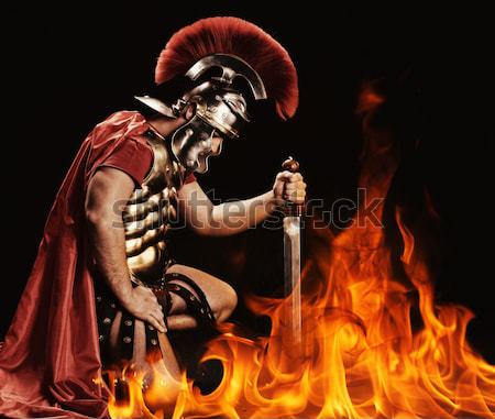Angry legionary soldier in the fire Stock photo © Nejron