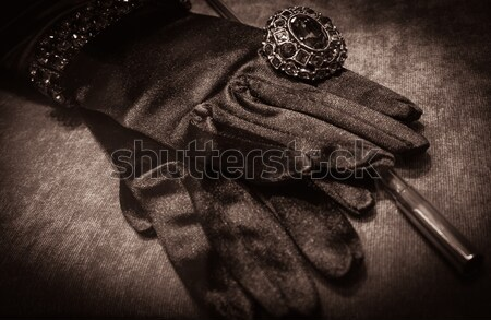 Gloves with luxury ring and cigarette holder Stock photo © Nejron