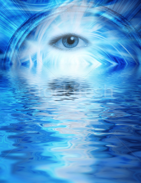 Human eye on blue abstract background reflected in rendered wate Stock photo © Nejron