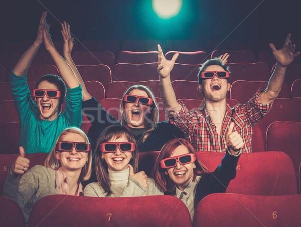Photo stock: Groupe · de · gens · lunettes · 3d · regarder · film · cinéma · femme