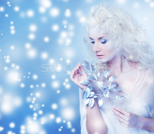 Snow queen with a magic twig Stock photo © Nejron