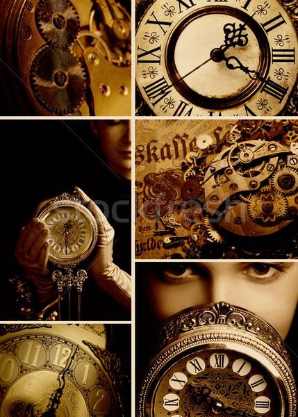 Tiempo collage mujer cara reloj trabajo Foto stock © Nejron