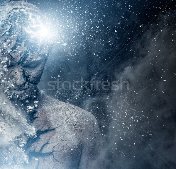 Stock photo: Man with conceptual spiritual body art