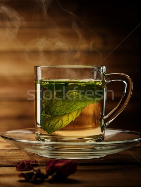 Vidro copo hortelã-pimenta chá fundo Foto stock © Nejron