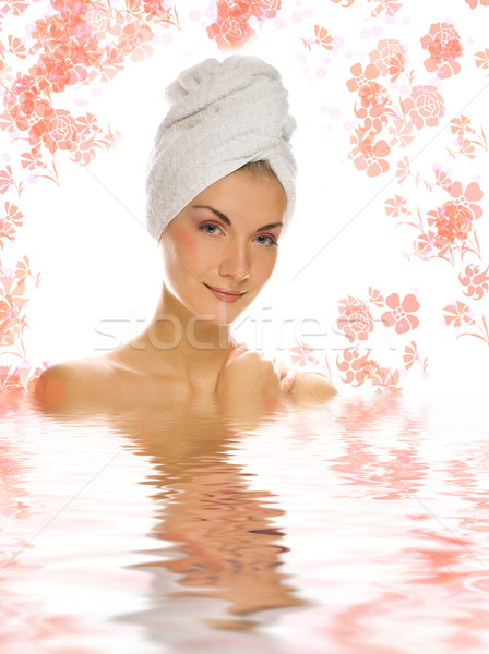 Beautiful girl with white towel on her head reflected in rendere Stock photo © Nejron