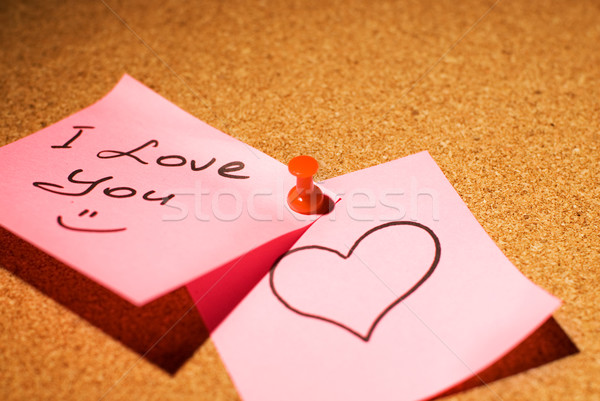 Love message on a corkboard Stock photo © Nejron