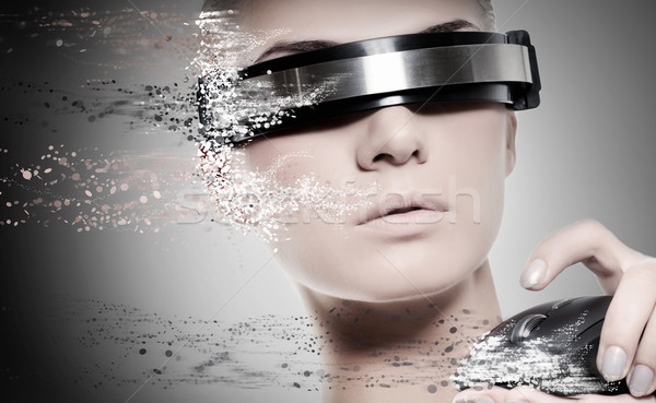 Güzel kadın robot bilgisayar fare kadın kız Stok fotoğraf © Nejron